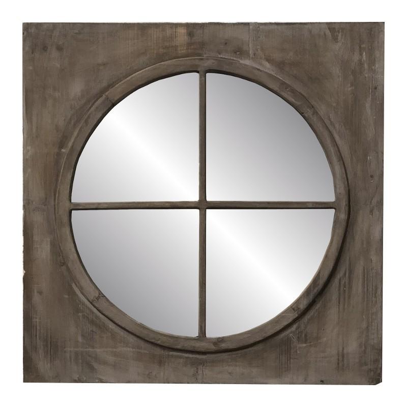 Miroir fenêtre avec tablette en métal 40x80