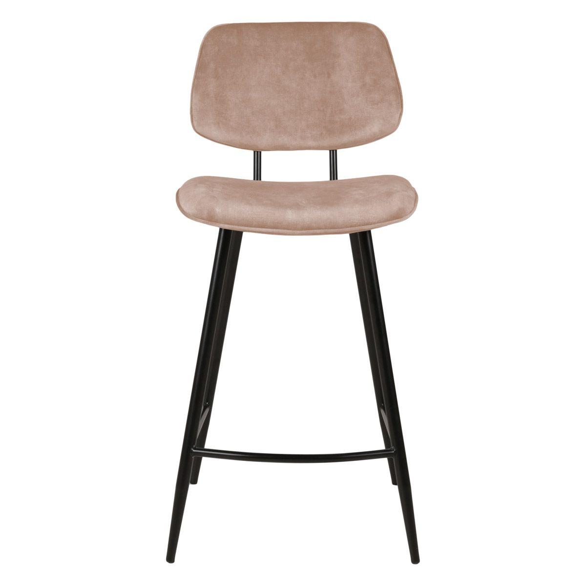 Chaise plan de travail velours beige pieds métal noir h68