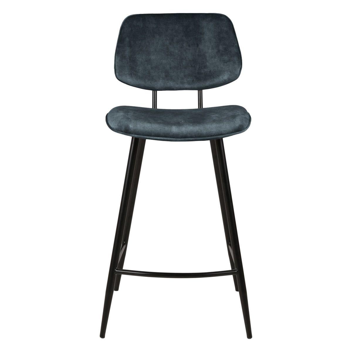 Chaise plan de travail velours gris bleu pieds métal noir h68