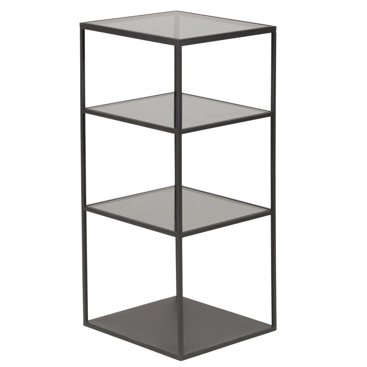 Etagère en métal noir avec 3 étagère en verre trempé
