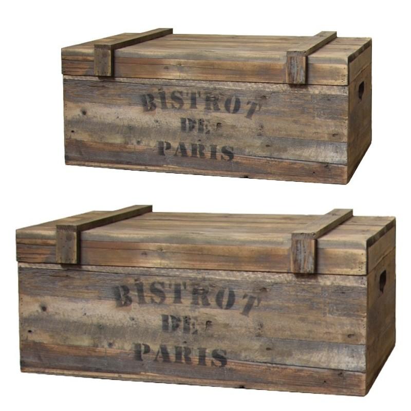 Lot de 2 coffres en bois style ancien