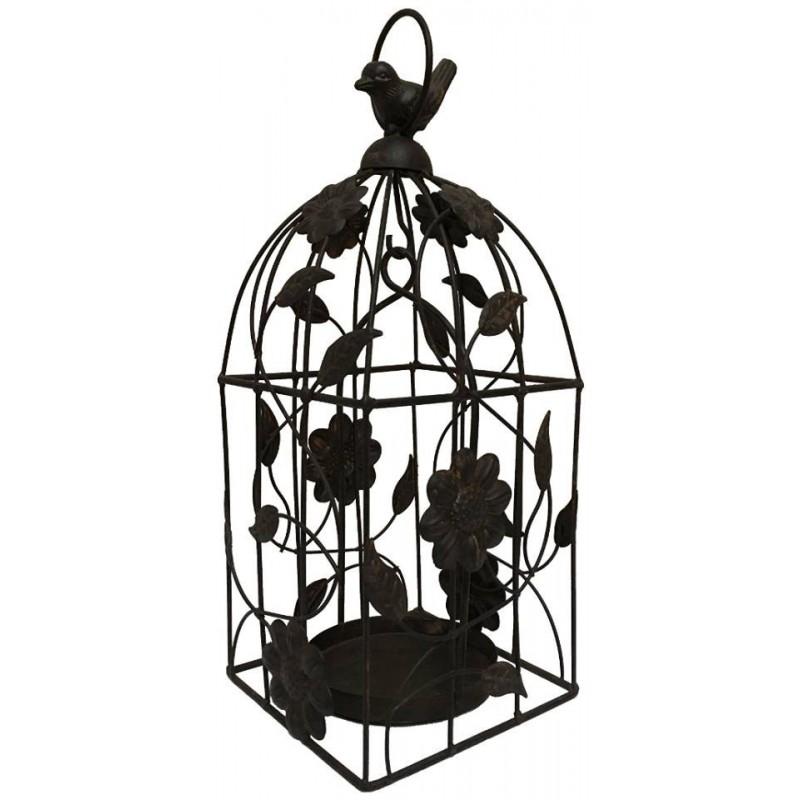 Bougeoir cage à oiseau en fer