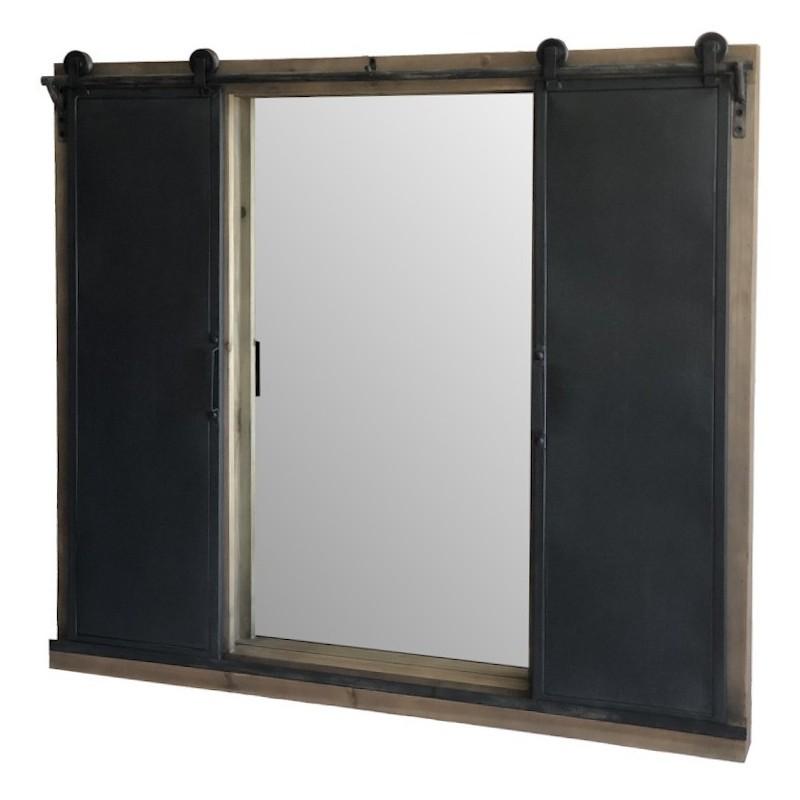 Miroir fenêtre volet avec roulettes en bois et fer