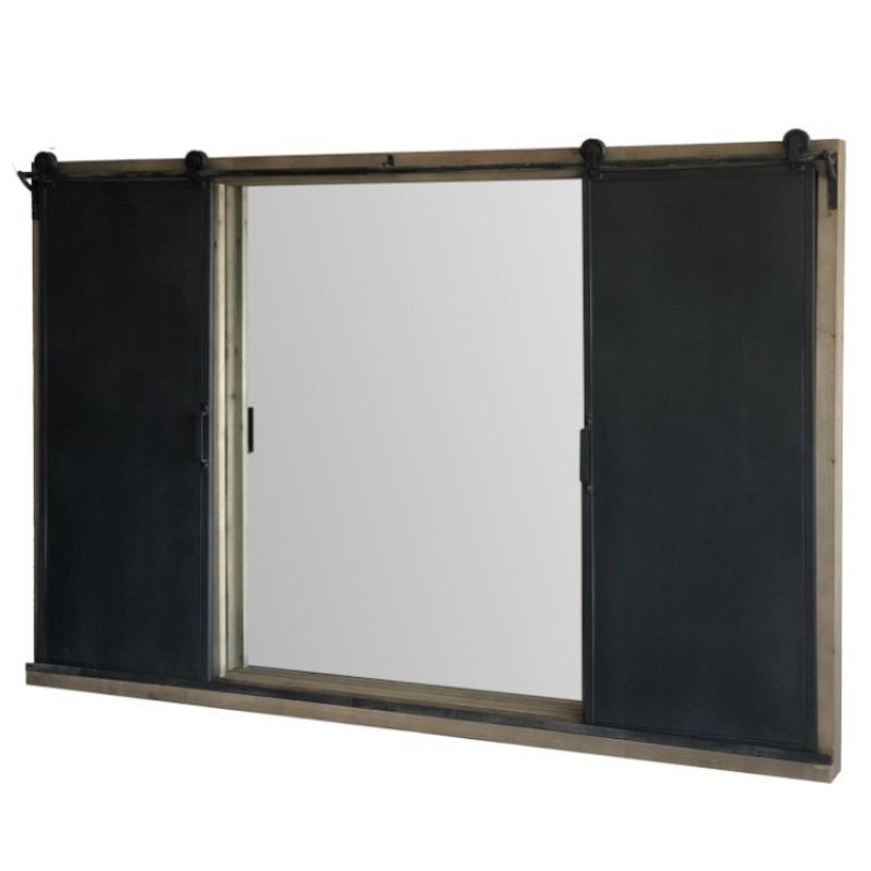 Miroir à porte coulissante en bois 100x150