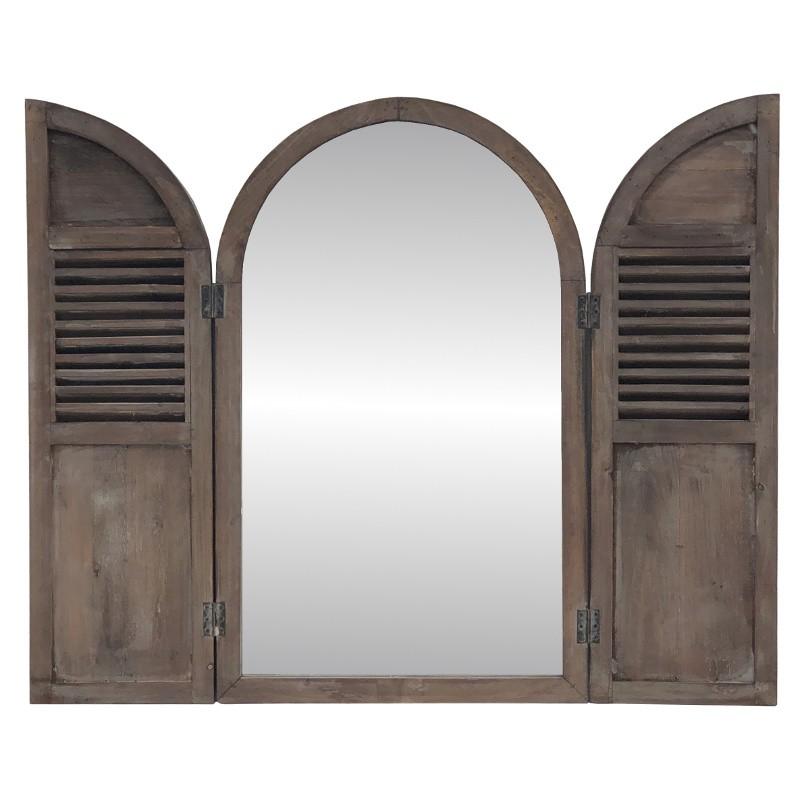 Miroir fenêtre à volet en bois H89