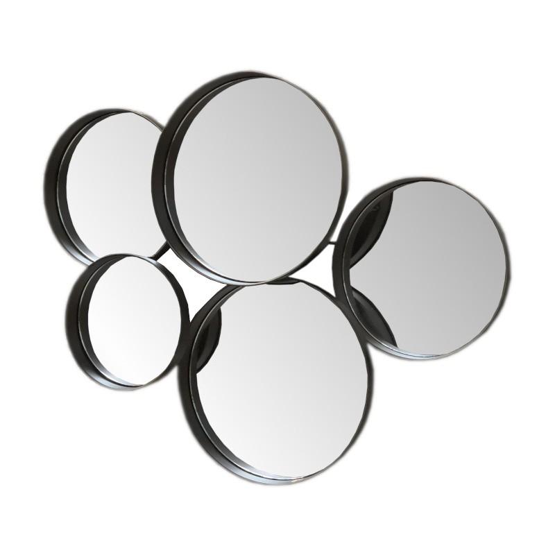 Miroir multiples rond en fer marron 59x78
