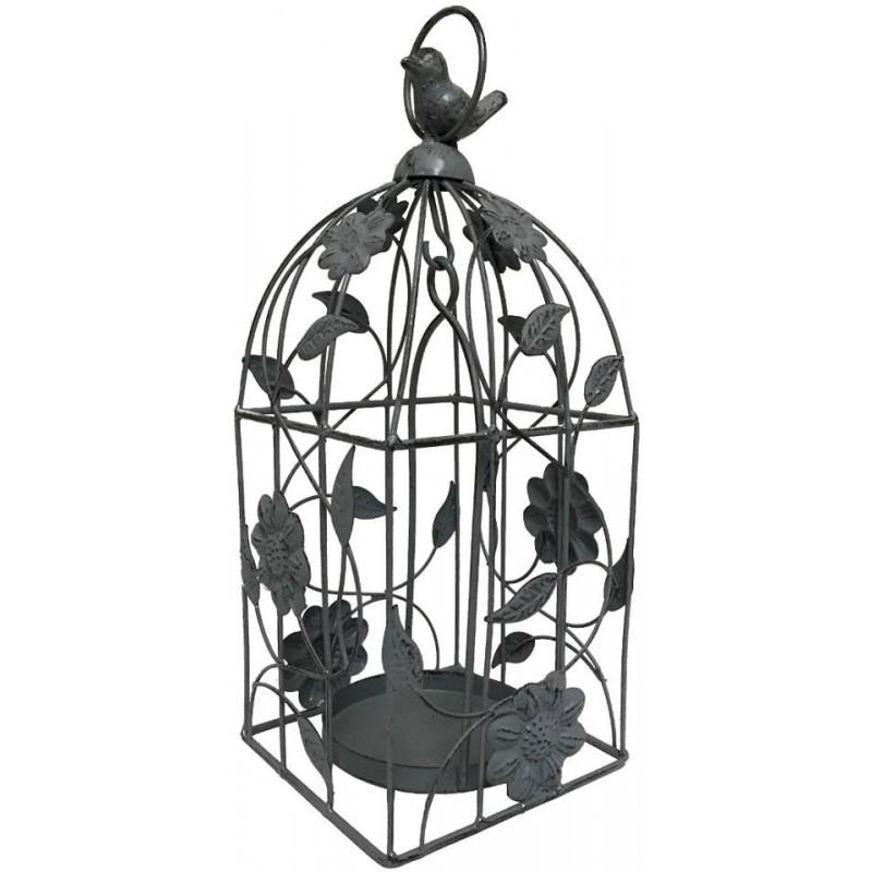 Bougeoir cage à oiseau à suspendre en fer