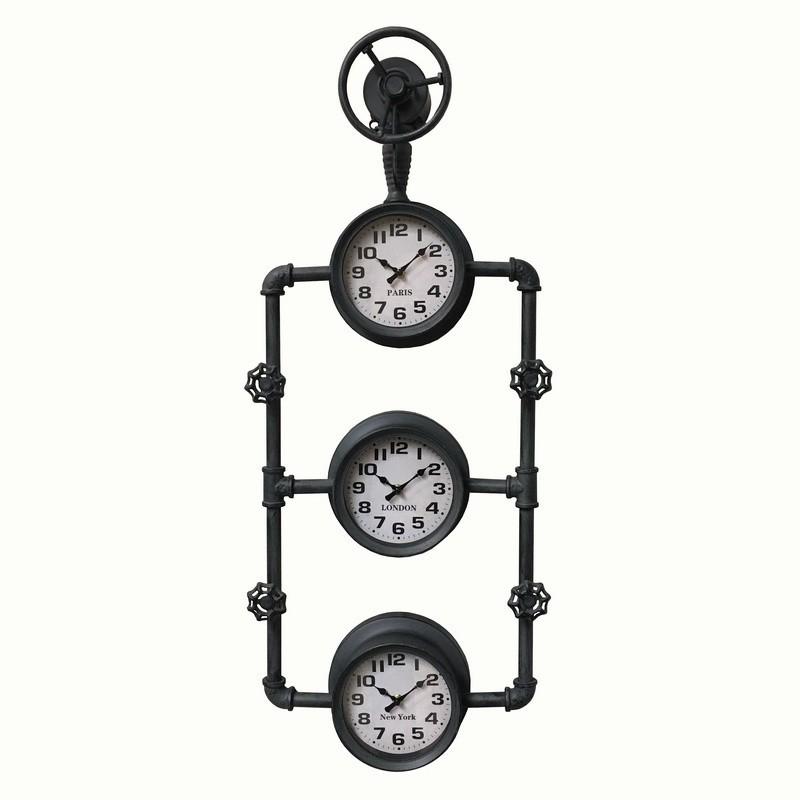 Grande horloge murale grand hotel charleston en fer et verre