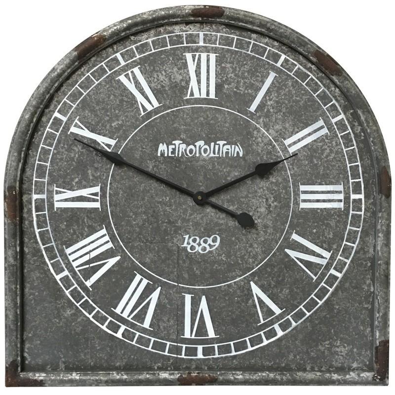 Horloge industrielle métal fer gris