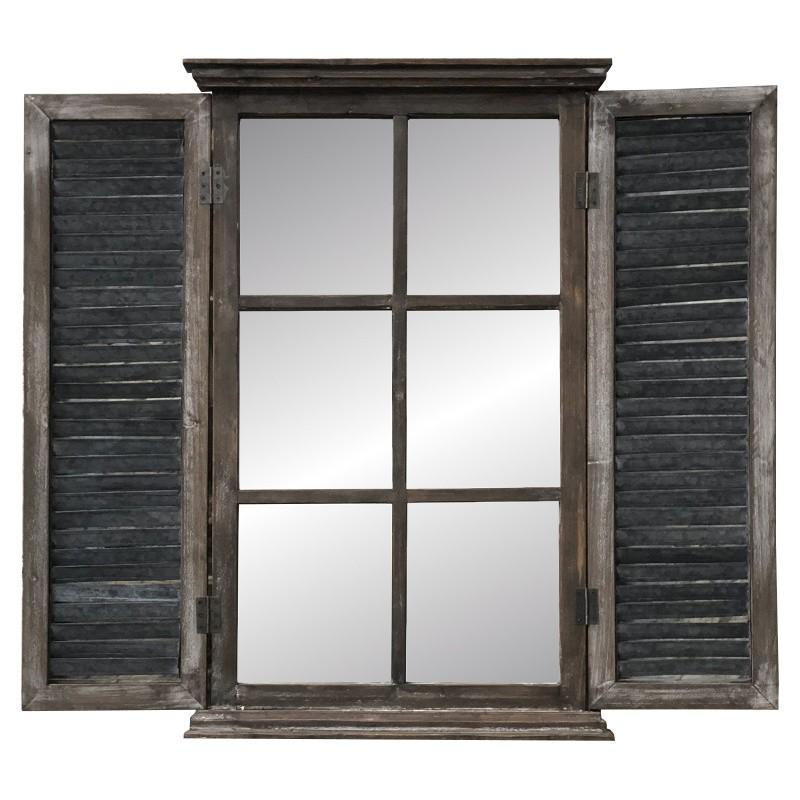 Grand miroir fenêtre à volet en bois et métal 90x101