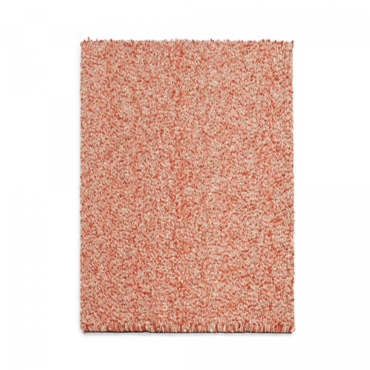 Tapis shaggy poils long en laine rouge 140x200