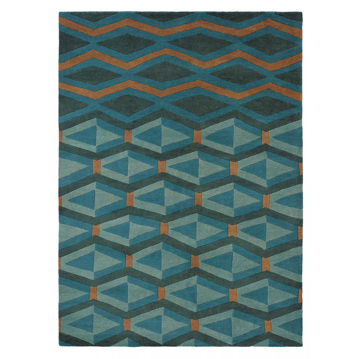 Tapis design en laine bleu 140x200