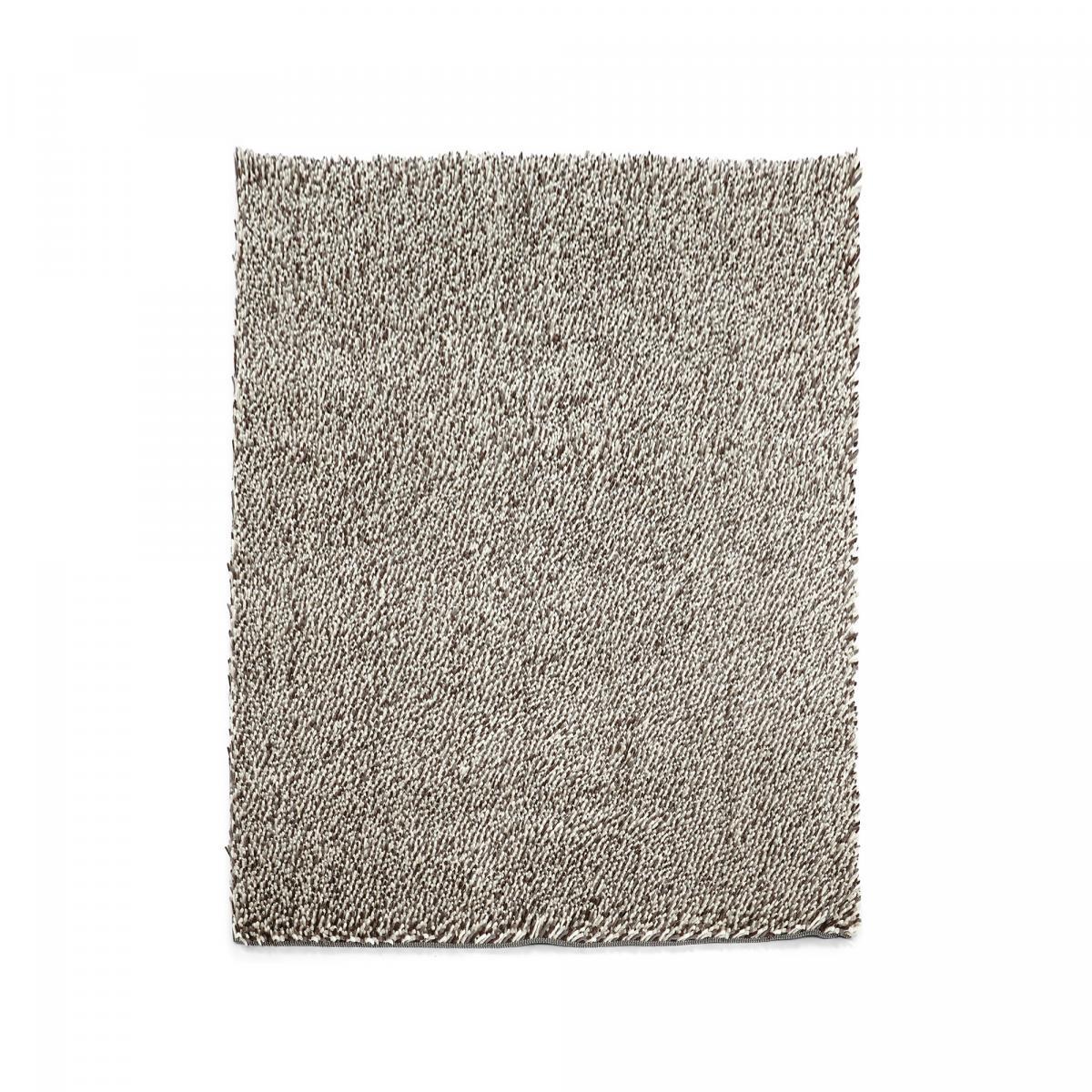 Tapis shaggy poils long en laine beige 170x240