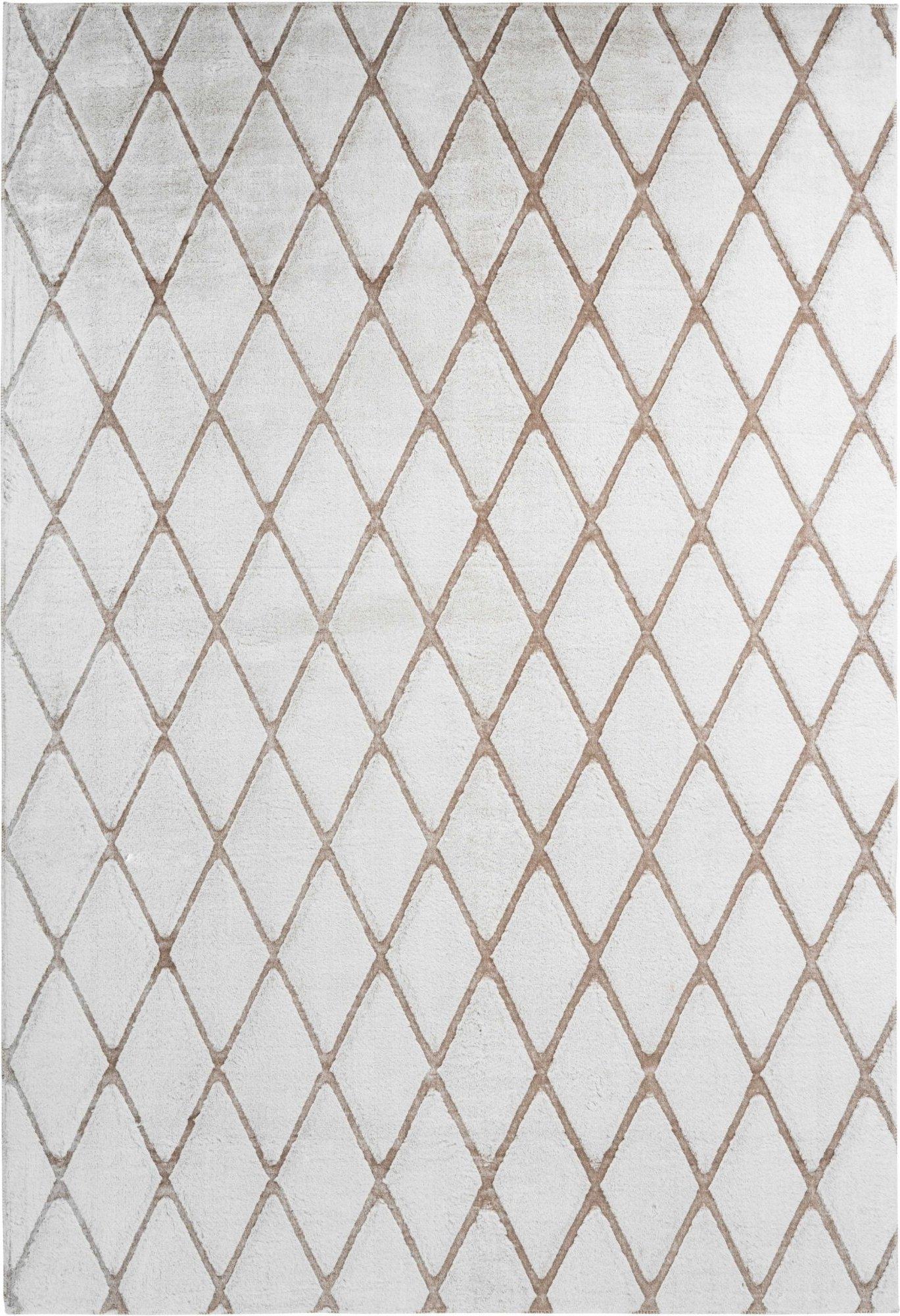 Tapis en polyester blanc et taupe 80x250