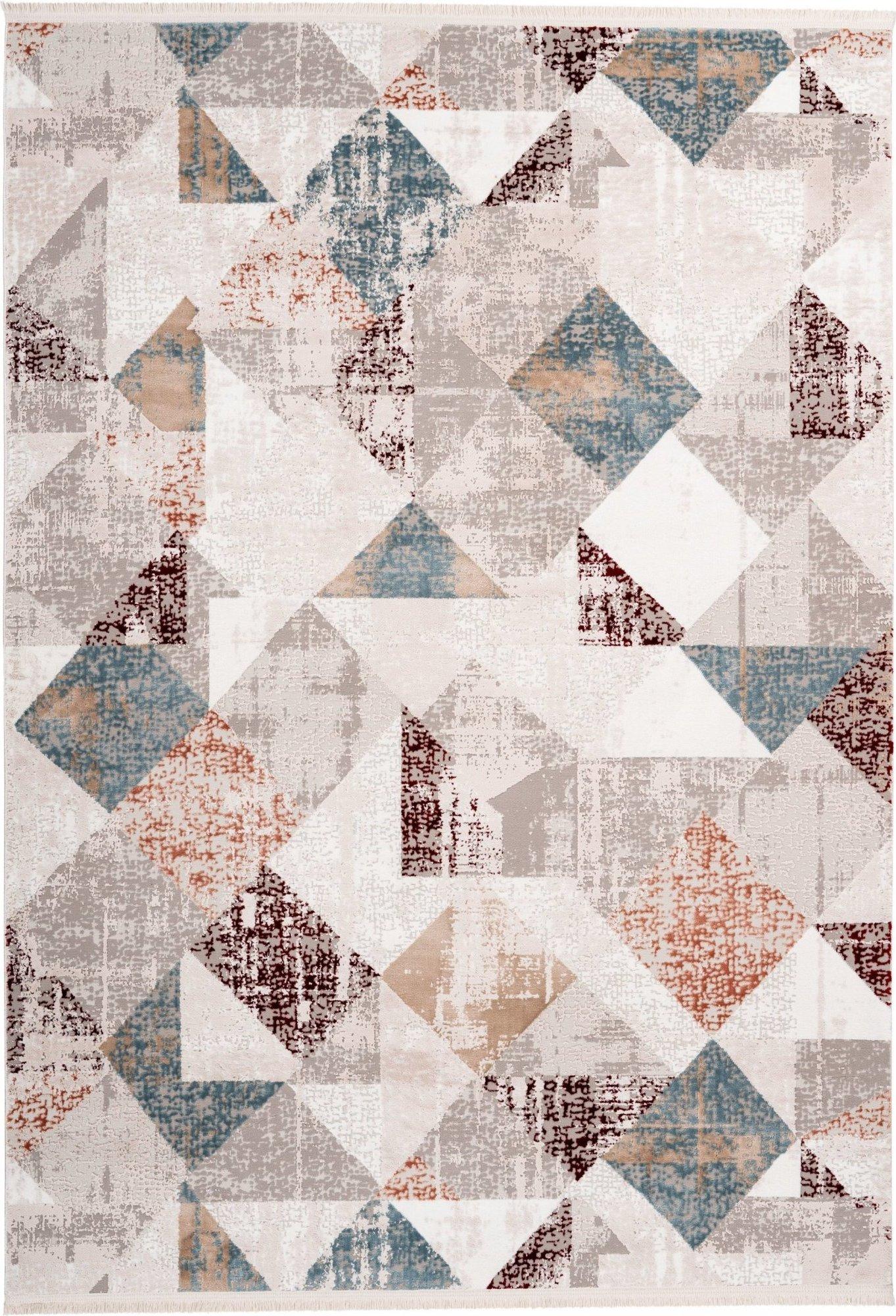 Tapis en polyester gris et rose saumon 80x150