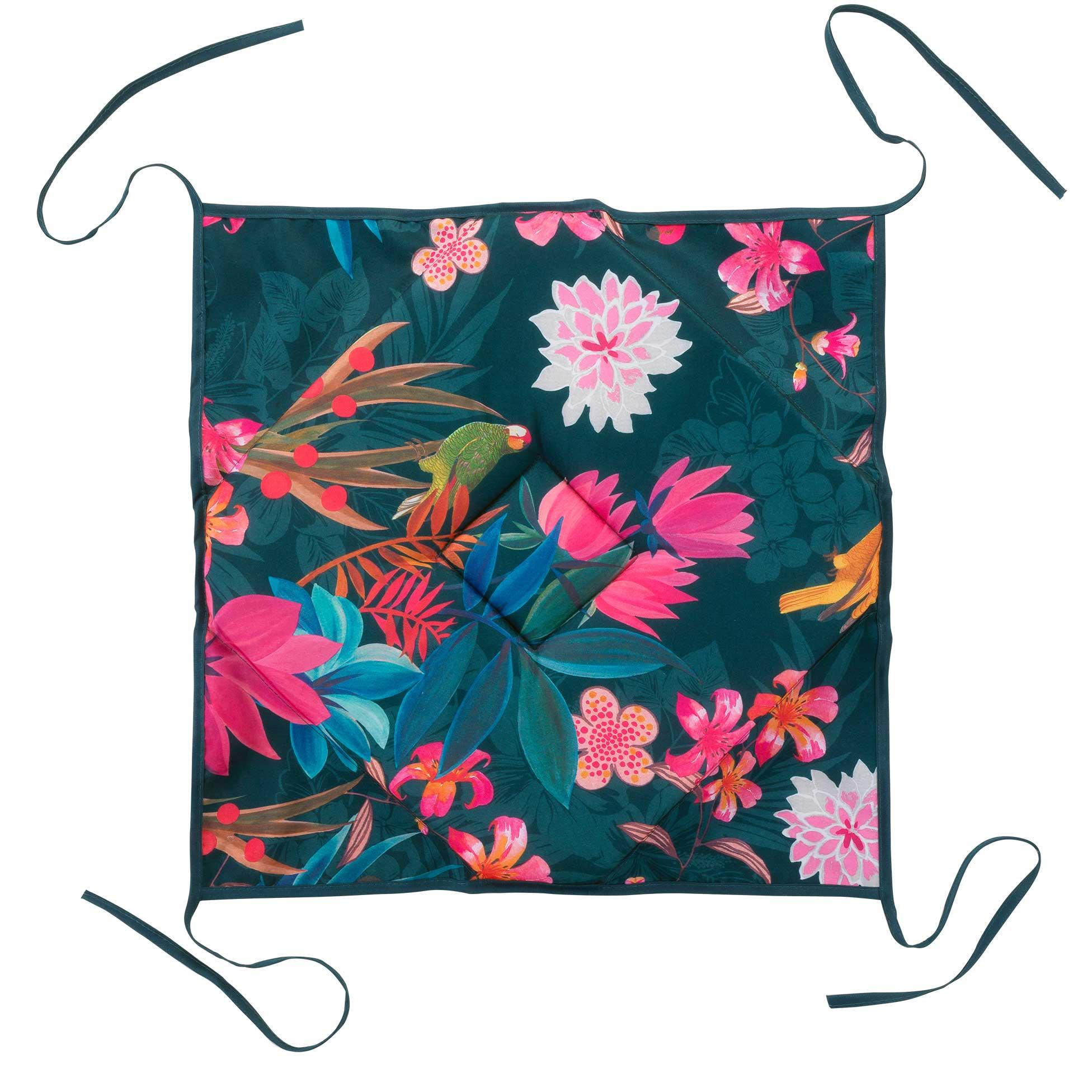 Galette de chaise imprimée exotic paradise polyester bleu 36x36