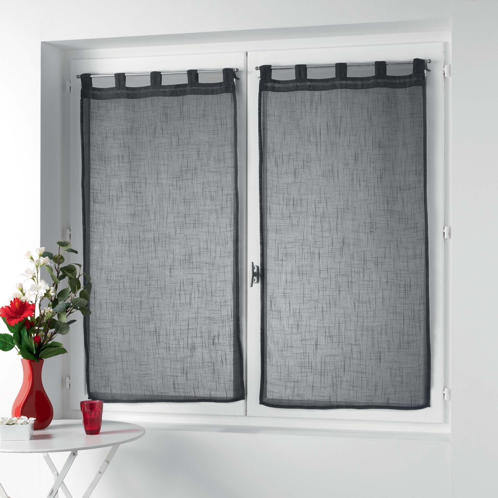 Petits vitrages droits à passants unis polyester anthracite 90x60
