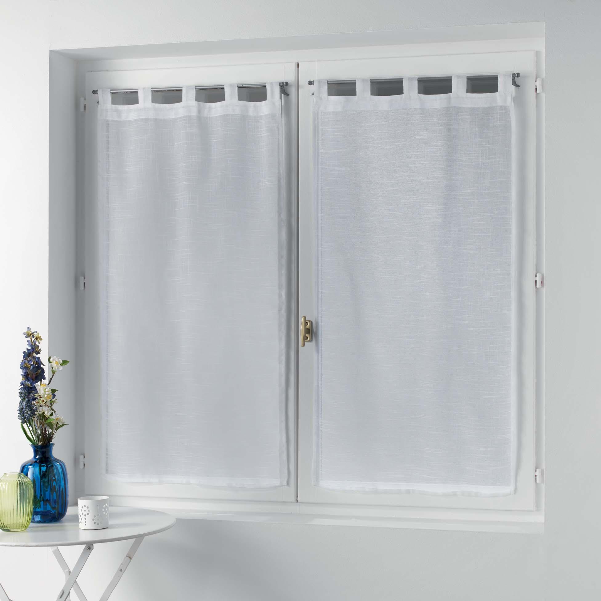 Petits vitrages droits à passants unis polyester blanc 90x60