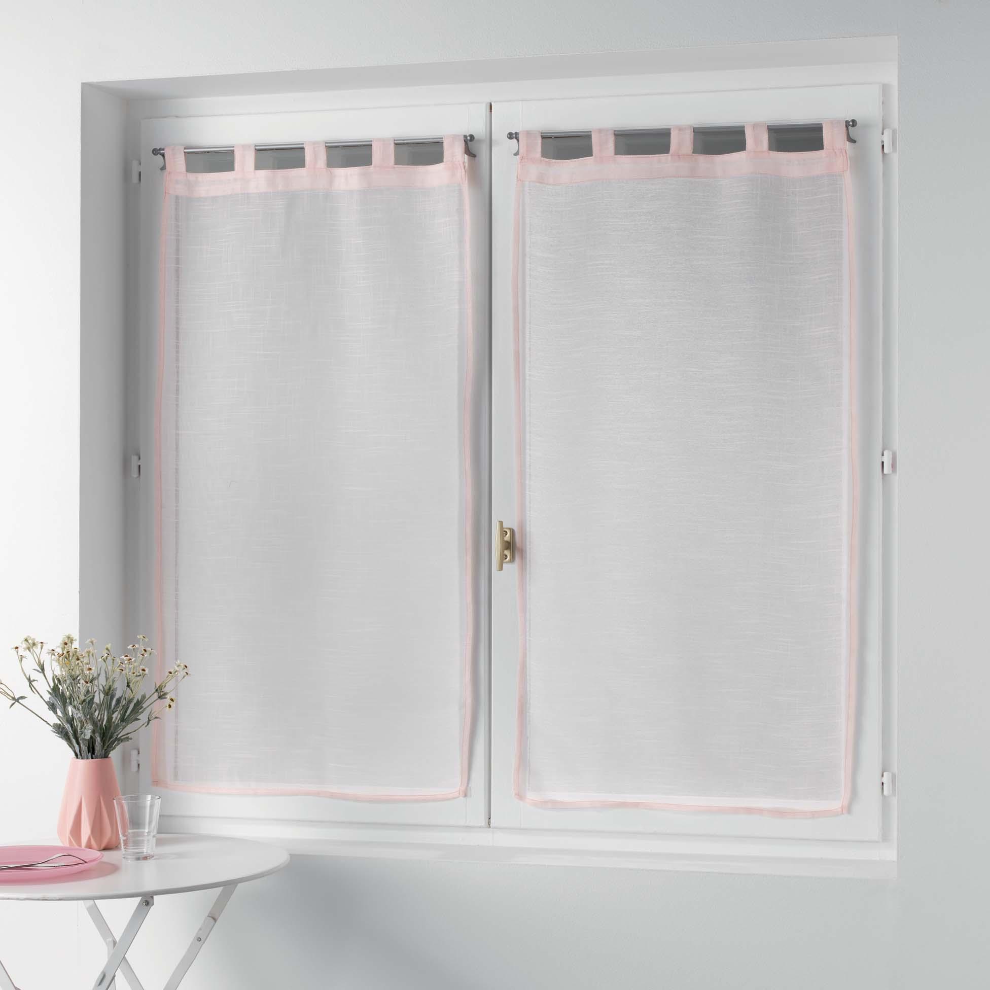 Petits vitrages droits à passants unis polyester rose 120x60