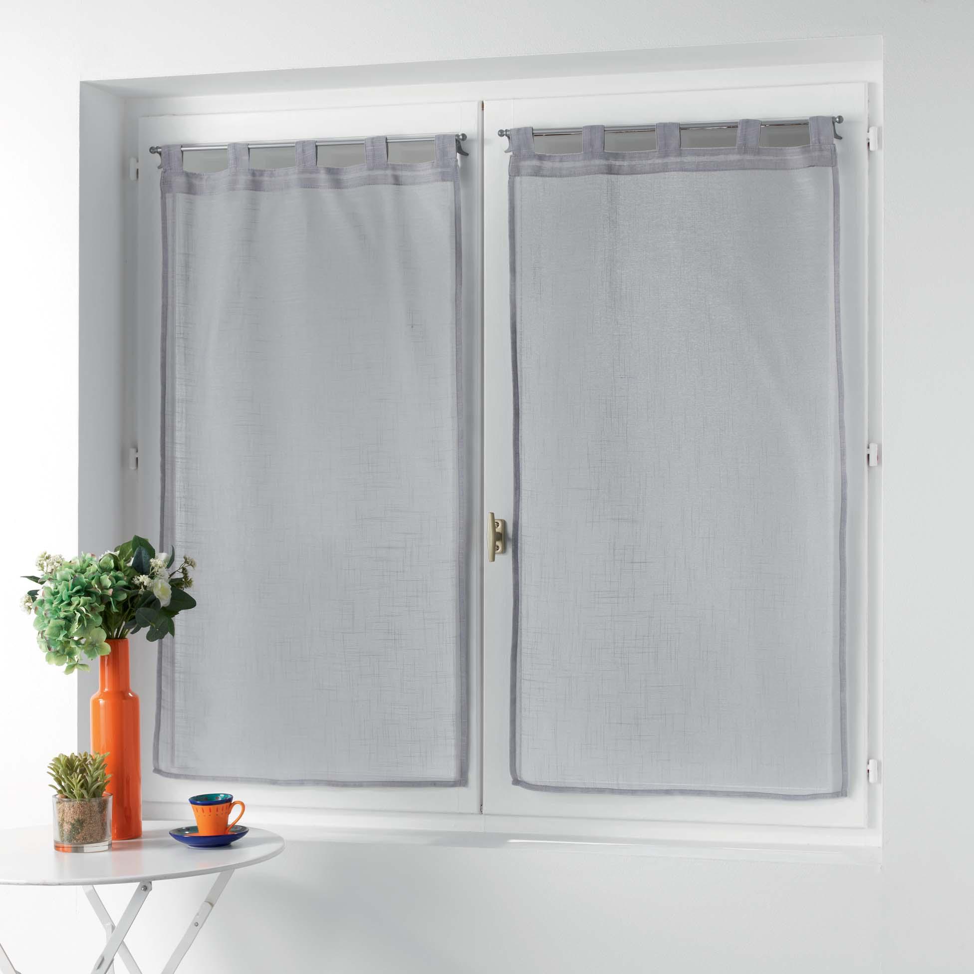 Petits vitrages droits à passants unis polyester gris 120x60
