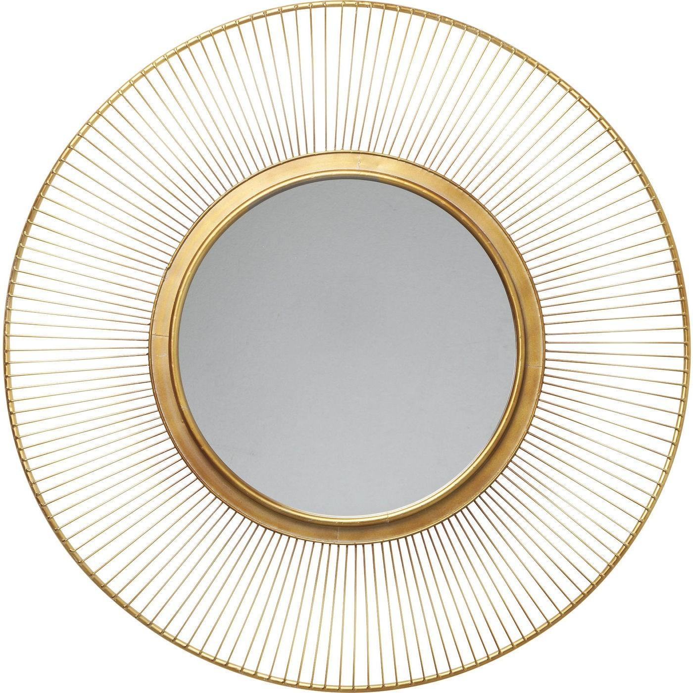 Miroir rond en métal doré D93