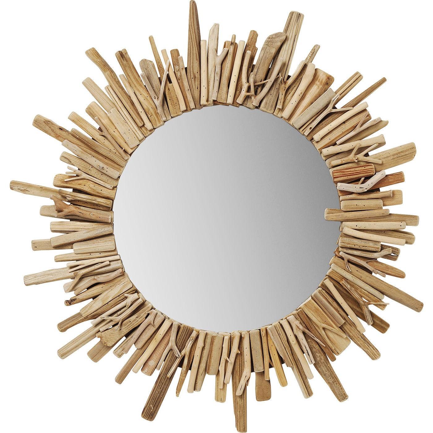 Miroir rond en bois D82