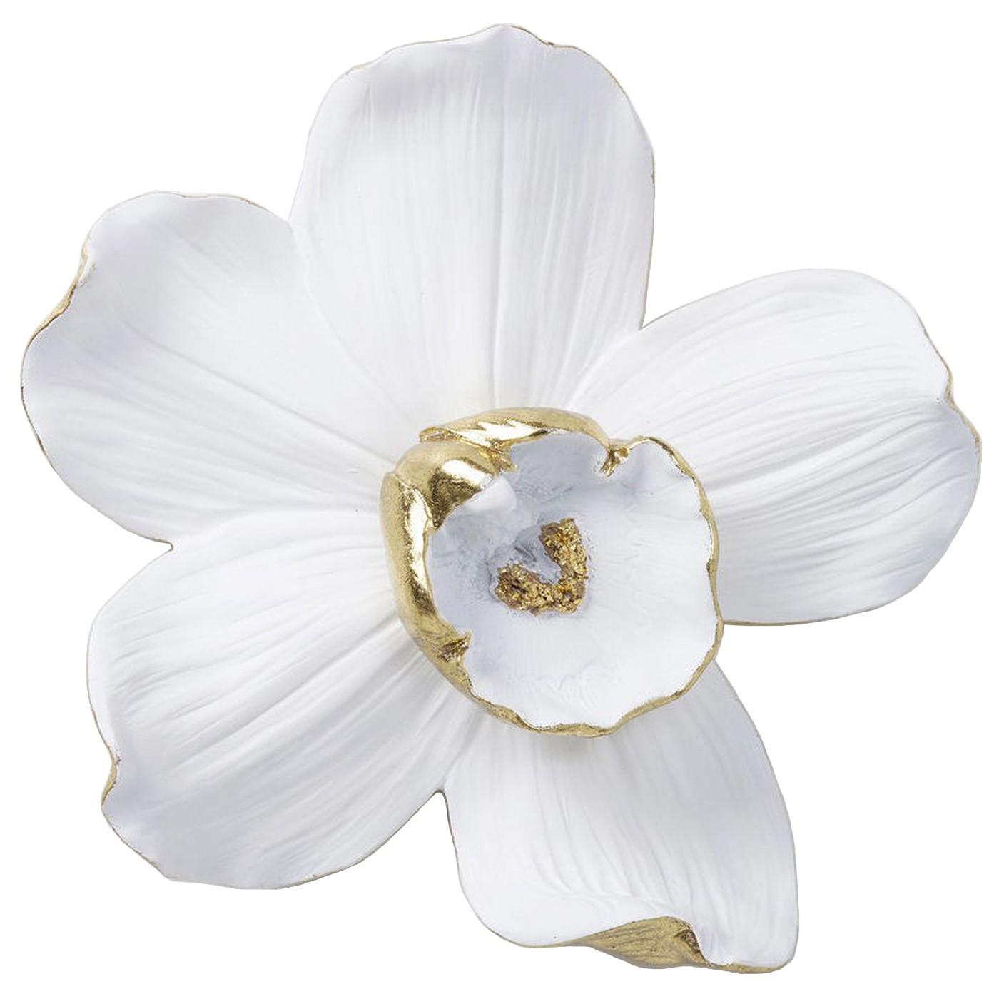 Déco murale orchidée blanche et dorée H25