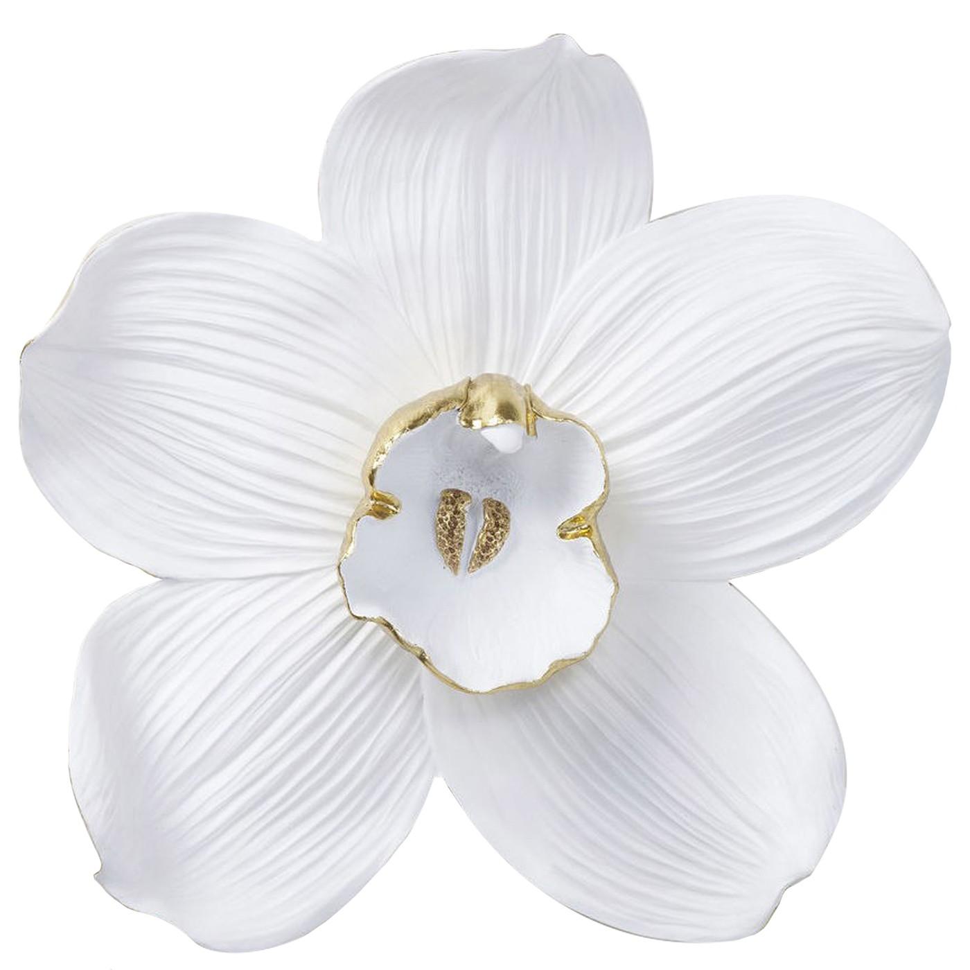 Déco murale orchidée blanche et dorée H54