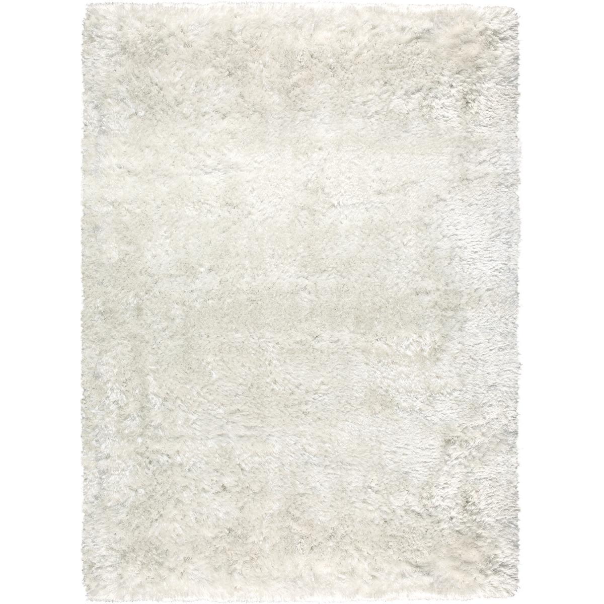 Tapis shaggy poils long en polyester blanc 170x240