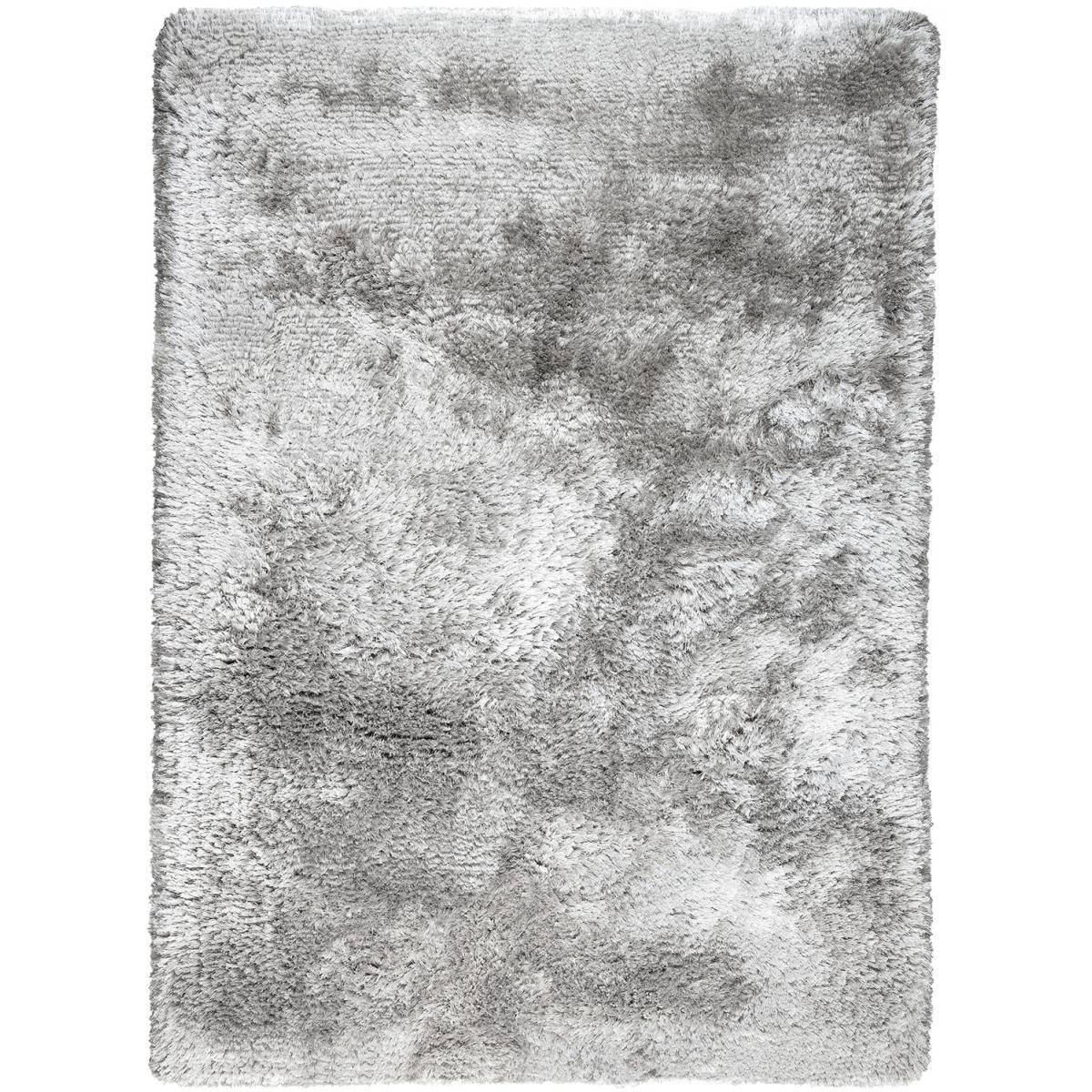 Tapis shaggy poils long en polyester argent 140x200