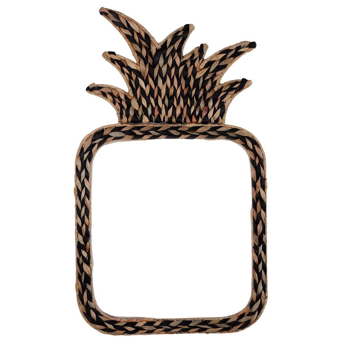 Miroir ananas jacinthe eau tressée marron 41x70