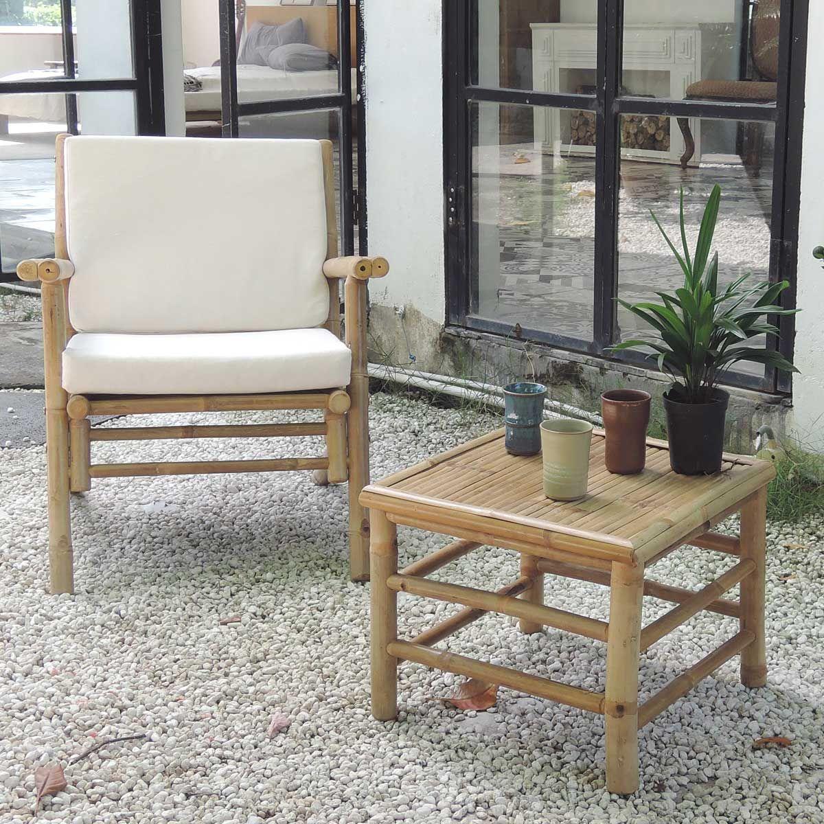 Table basse carrée en bambou bois clair