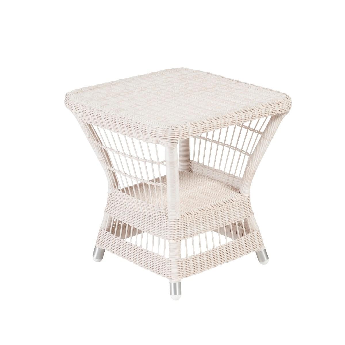 Table basse carrée de jardin en résine blanc cassé