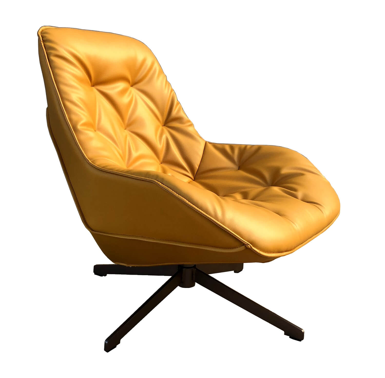 Fauteuil moderne aspect cuir jaune