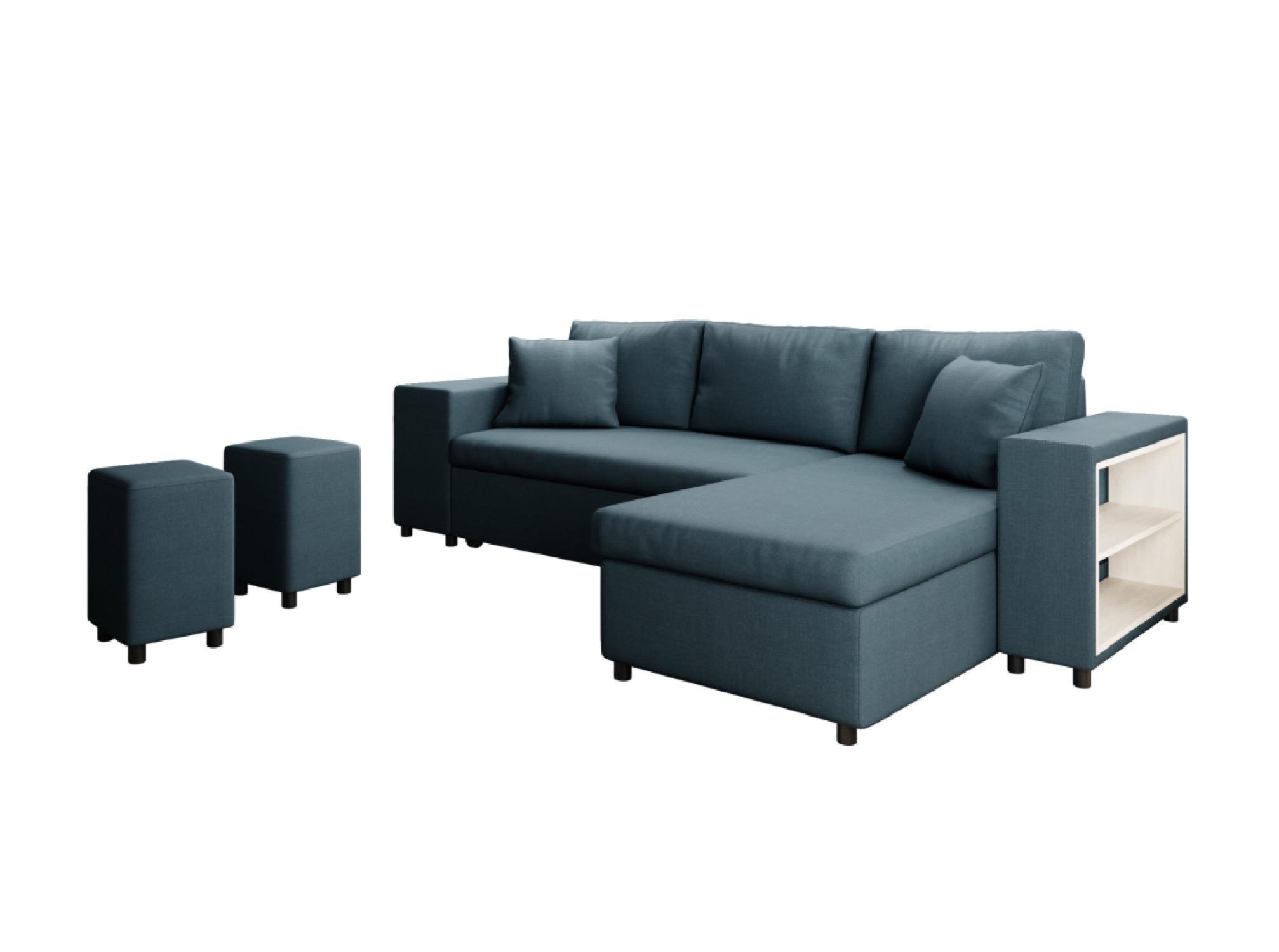 Canapé d'angle 3 places Bleu Tissu Moderne Confort