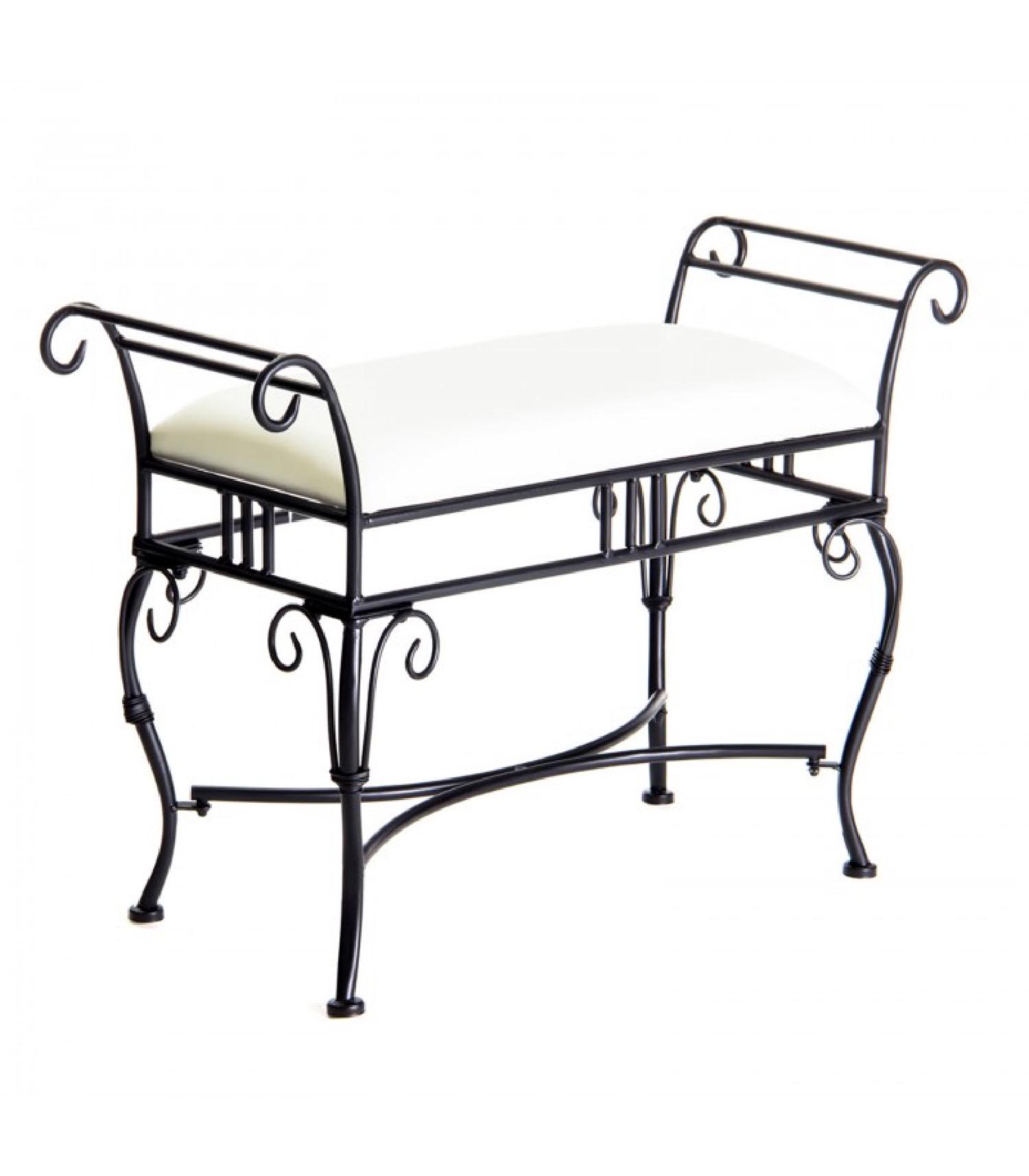 Banquette en métal noir et assise rembourrée tissu blanc