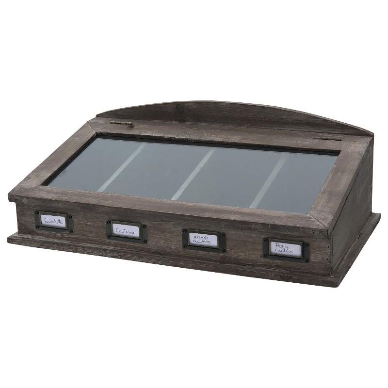 Boîte de rangement à couvert en bois vitrée