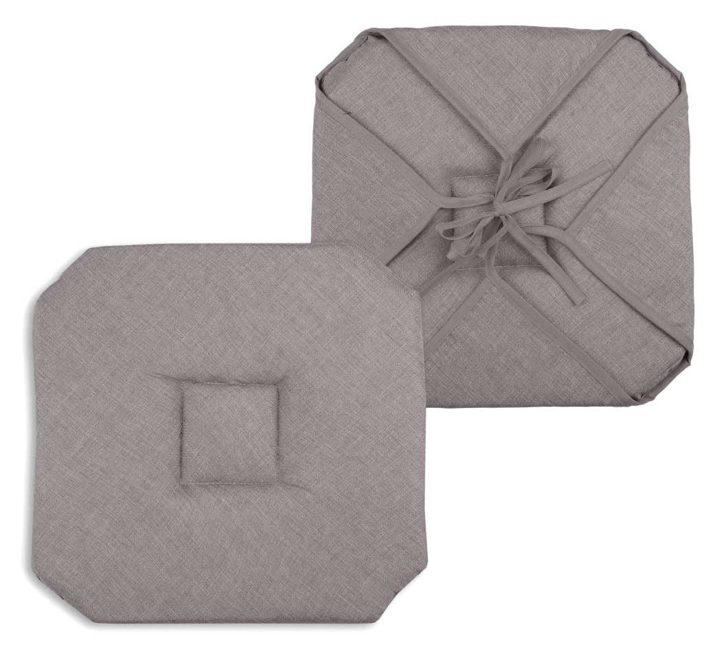 Galette de chaise unie polyester taupe 40x40