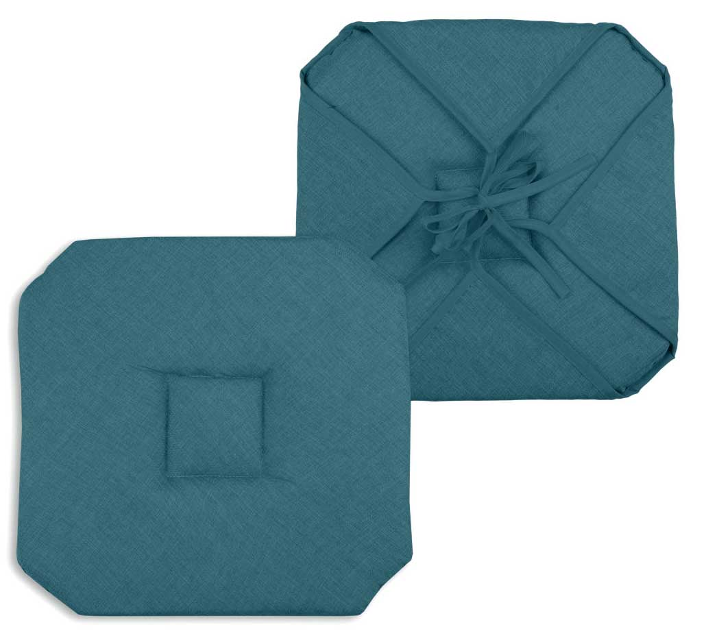 Galette de chaise unie polyester turquoise 40x40