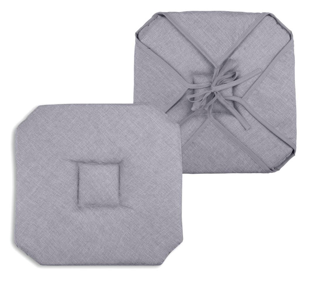 Galette de chaise unie polyester gris 40x40