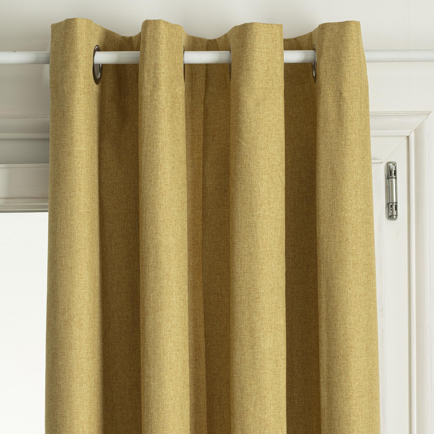 Rideau occultant total avec couche d'enduit polyester ocre 260x140
