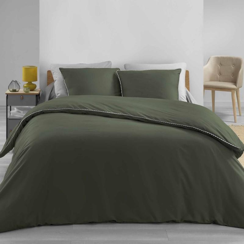 Parure de lit finition dentelle coton kaki/blanc 220x240