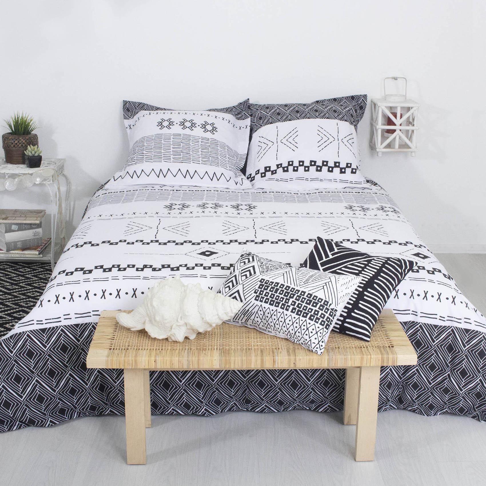 Parure de lit ethnic coton blanc / noir 220x240