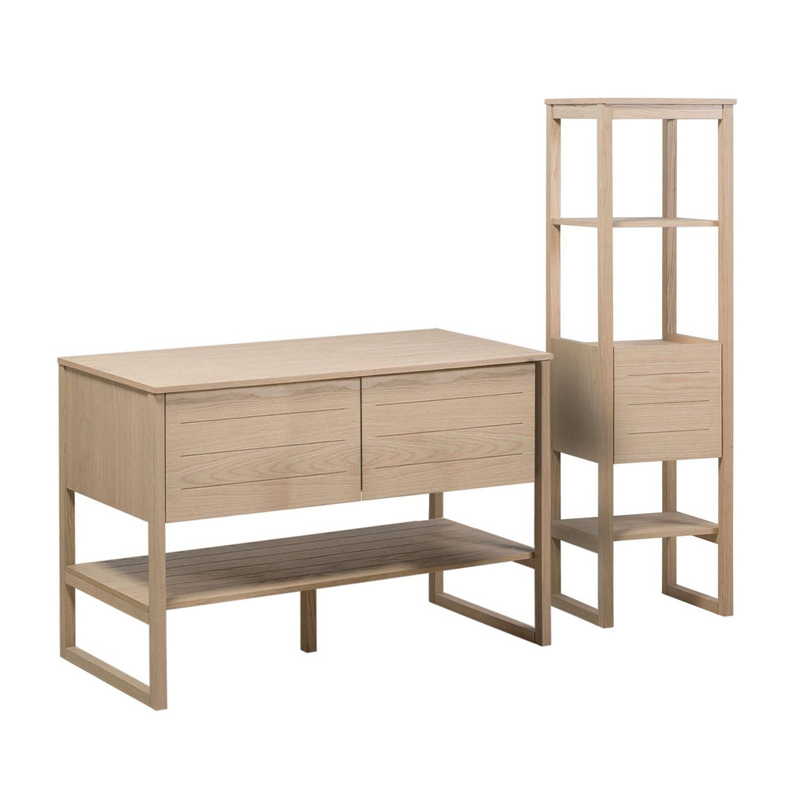 Meuble de salle de bain avec colonne effet bois clair
