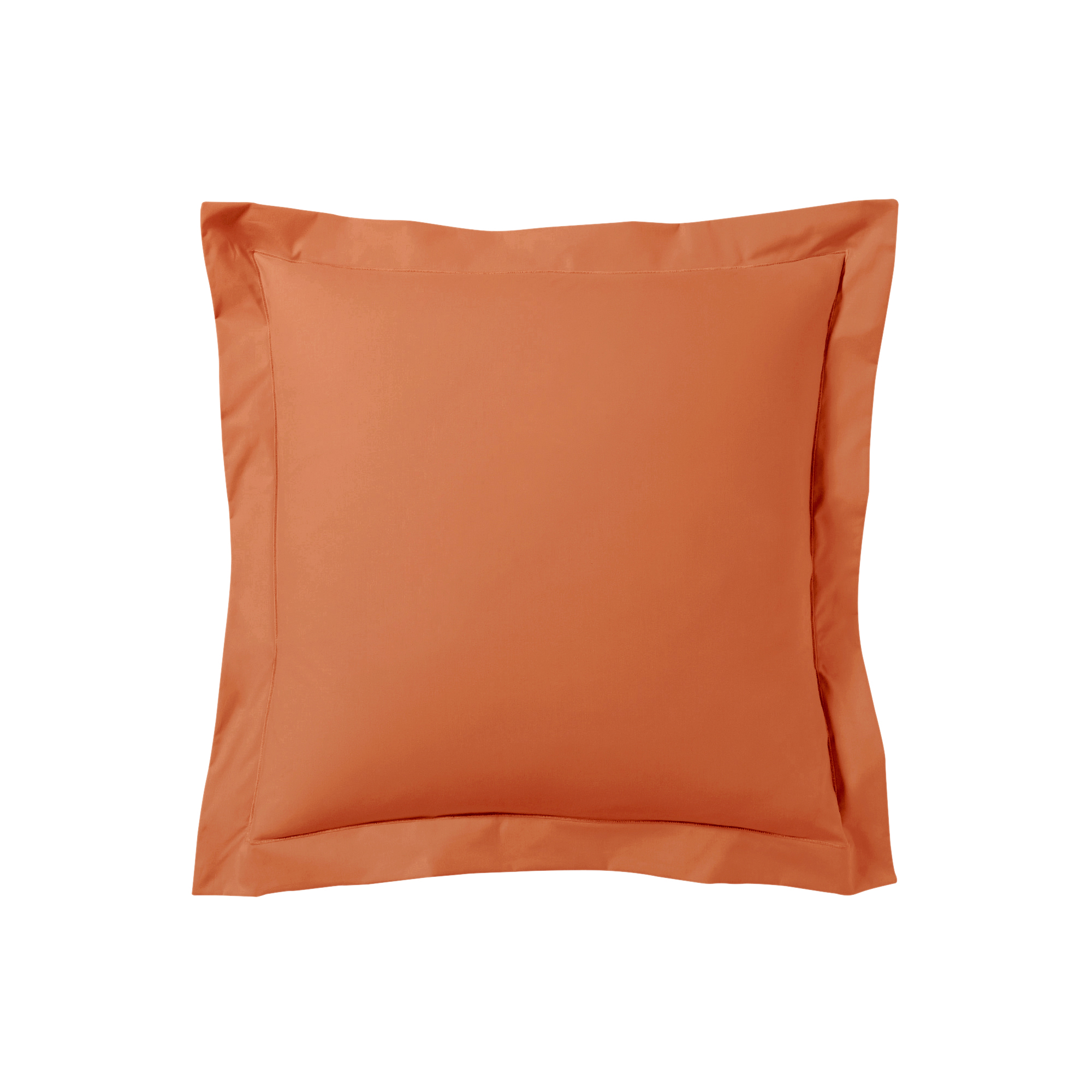 Taie d'oreiller unie en percale de coton orange 65x65