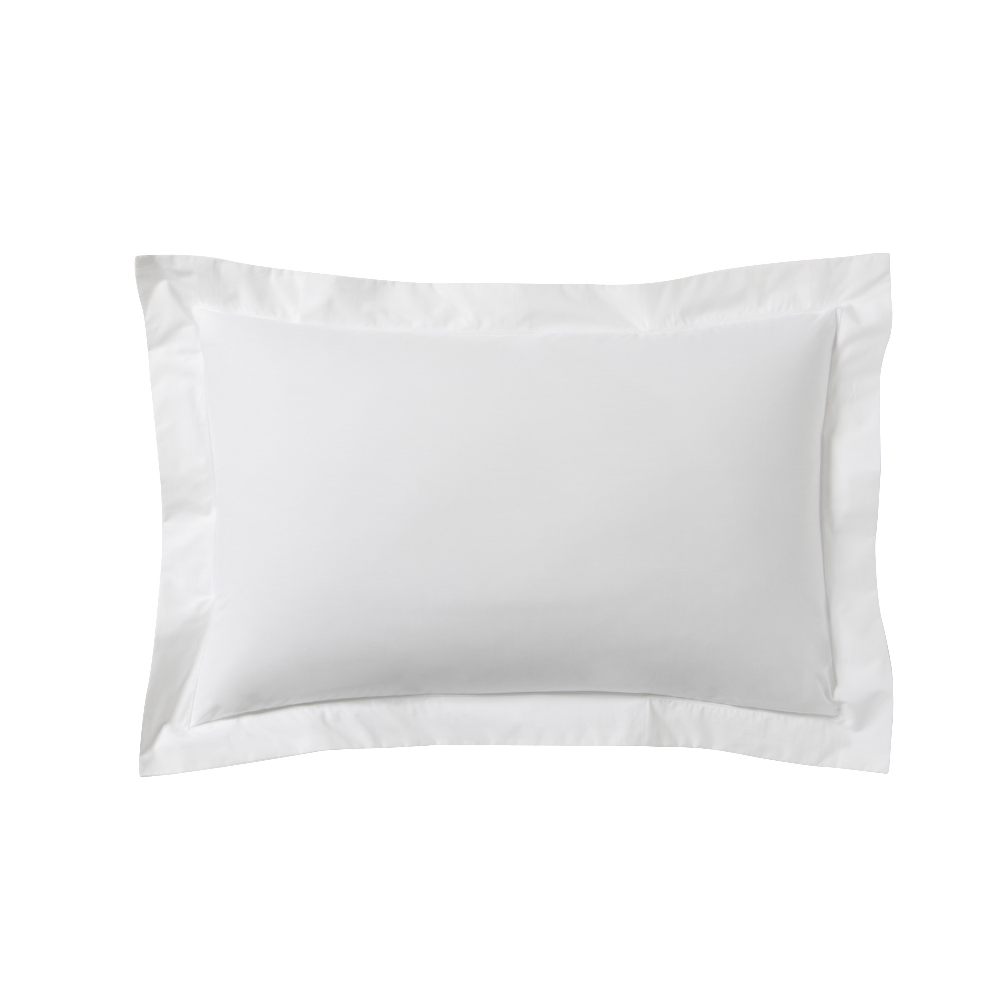 Taie d'oreiller unie en percale de coton blanc 50x70