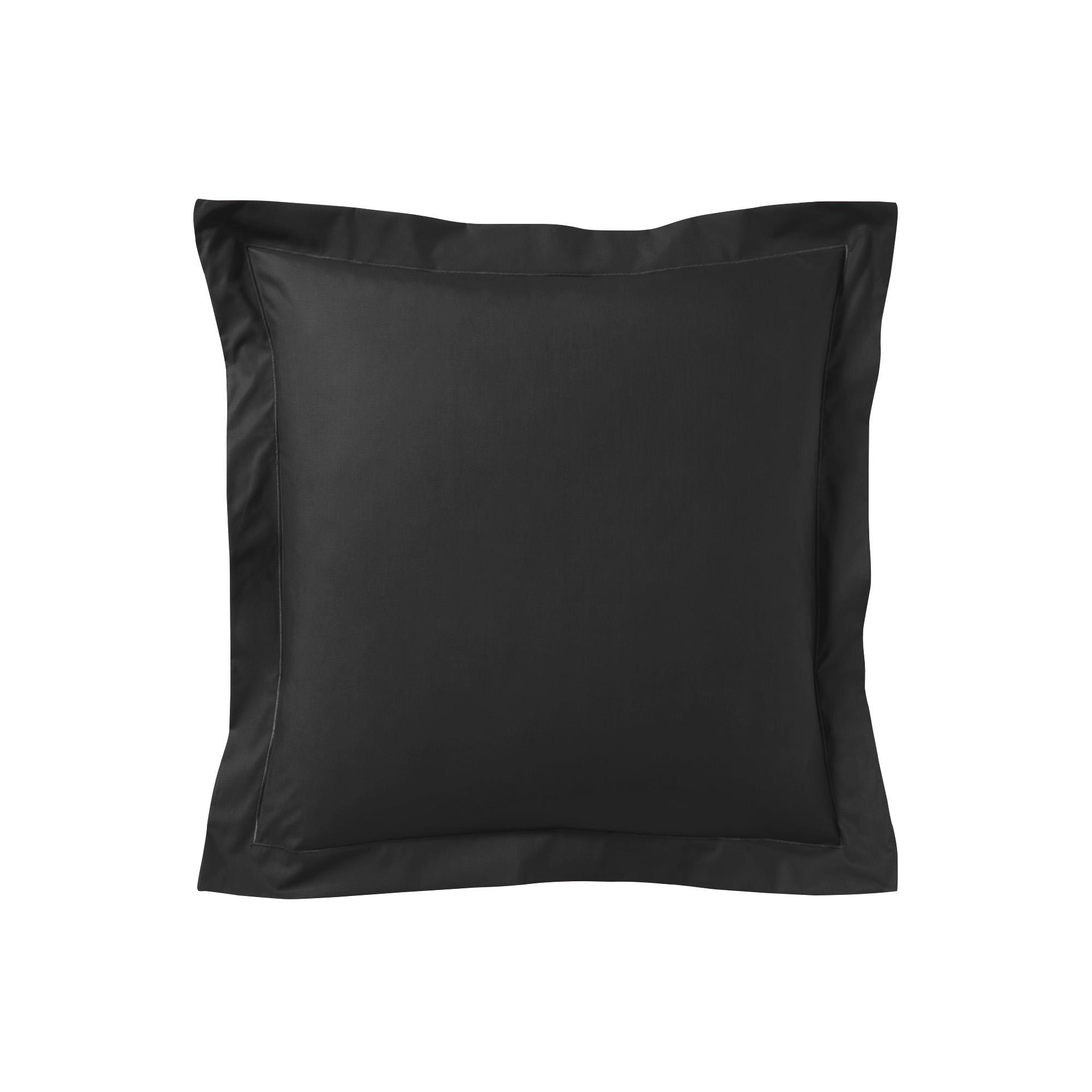 Taie d'oreiller unie en percale de coton gris 64x64
