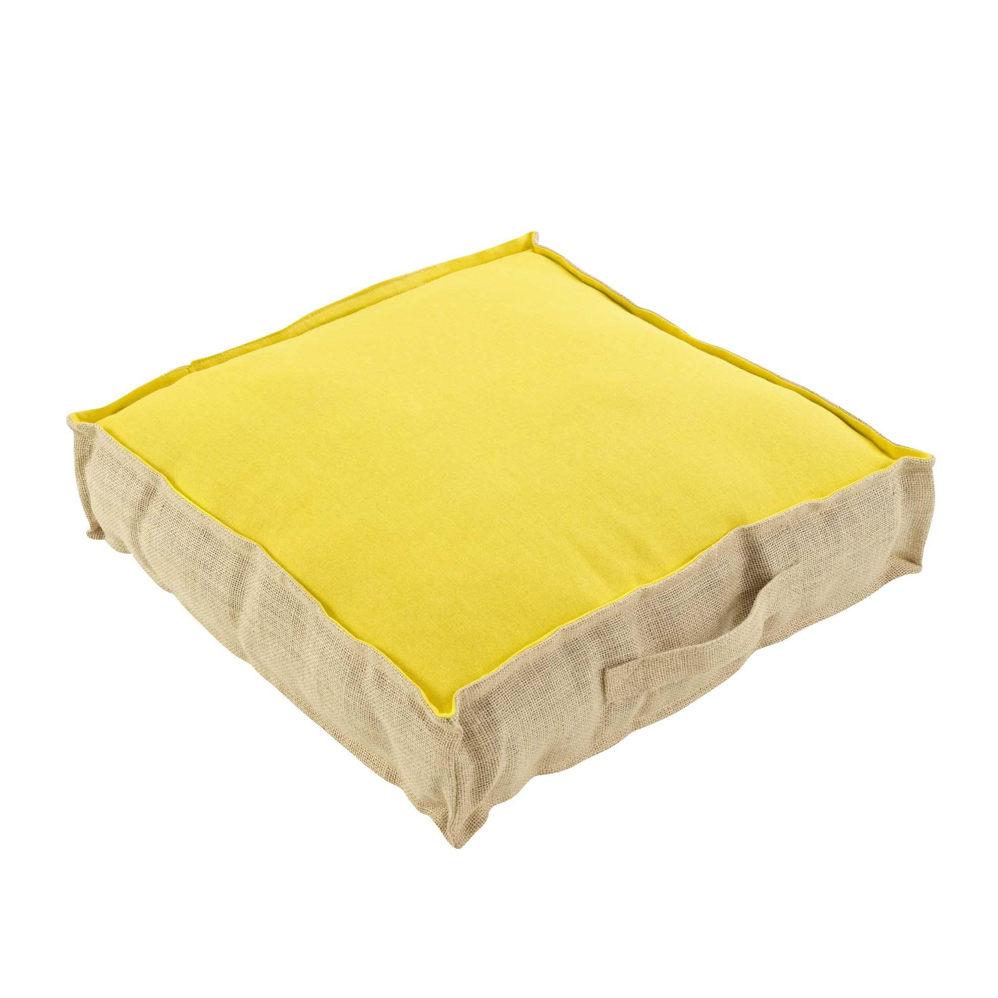 Coussin de sol coton et jute coton jaune 45x45