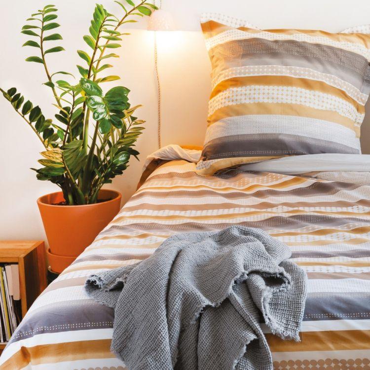 Parure de lit en coton beige 260x240
