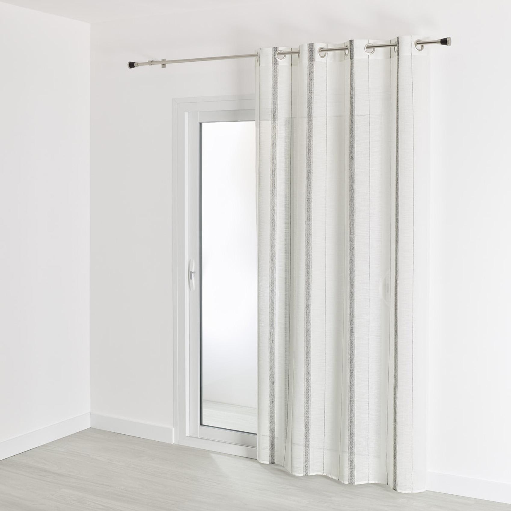 Voilage en étamine et motifs linéaires polyester gris 260x140